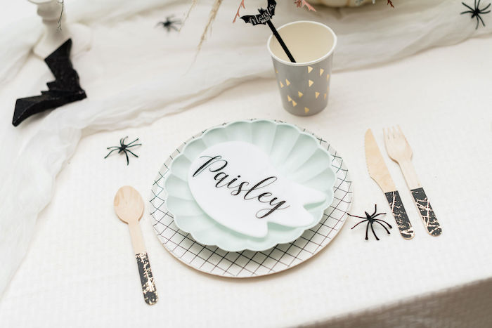 Ghost-tagged Table Setting from a Monster Mash Halloween Party on Kara's Party Ideas | KarasPartyIdeas.com