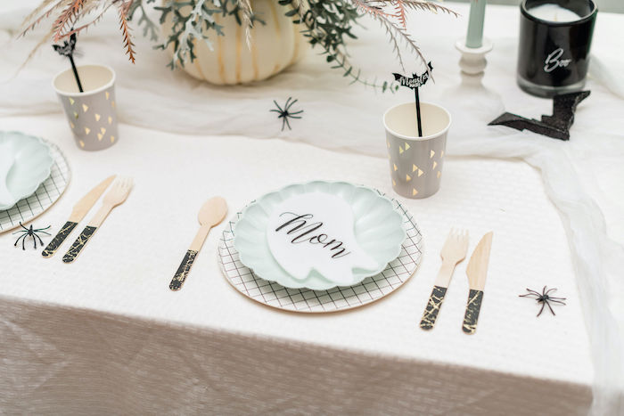 Halloween Table Setting with Ghost Place Cards from a Monster Mash Halloween Party on Kara's Party Ideas | KarasPartyIdeas.com