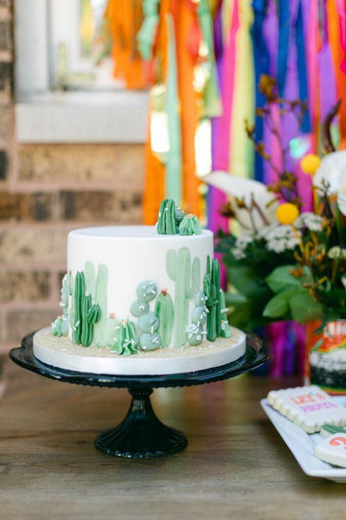 Cactus Cake from an Outdoor Fiesta Birthday Party on Kara's Party Ideas   KarasPartyIdeas.com