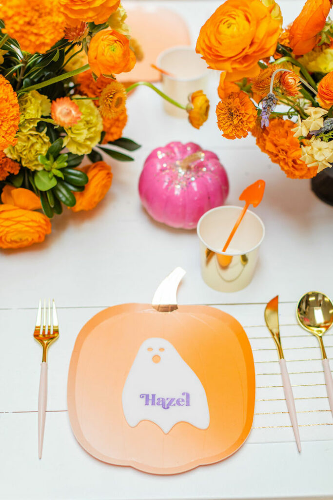 Pumpkin Plate Table Setting from a Pastel Halloween Party on Kara's Party Ideas   KarasPartyIdeas.com
