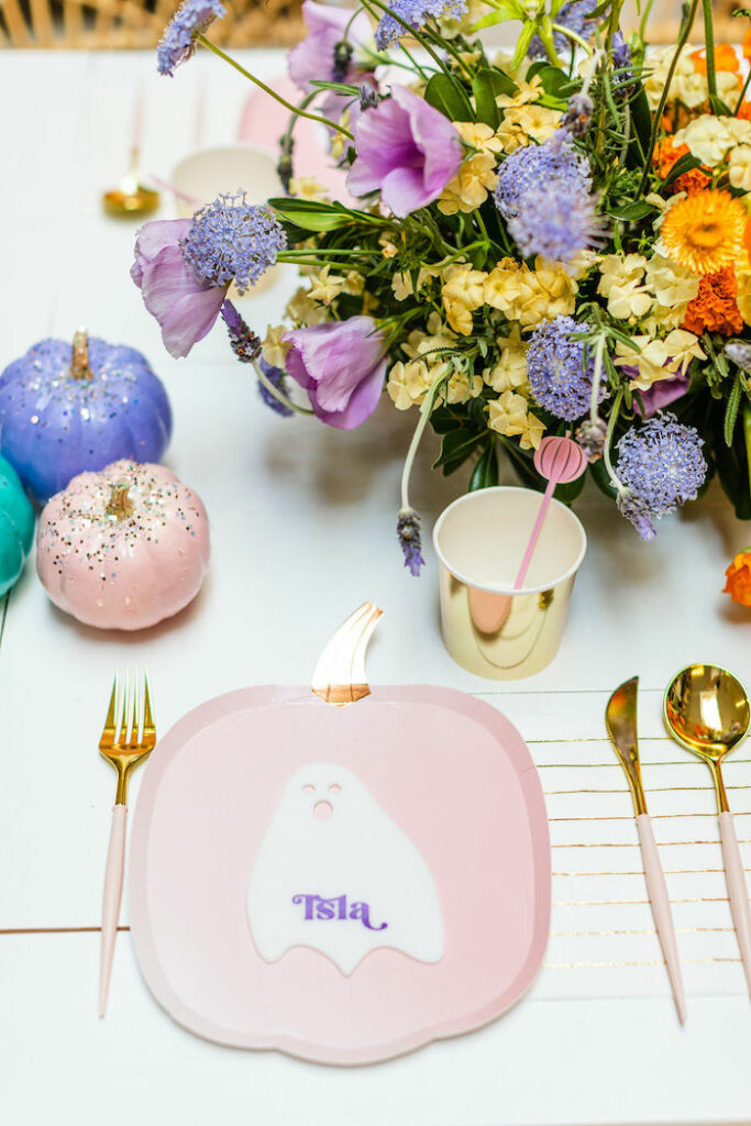 HalloweePumpkin Plate Table Setting from a Pastel Halloween Party on Kara's Party Ideas   KarasPartyIdeas.com