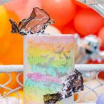 Pastel Bat Cake from a Pastel Halloween Party on Kara's Party Ideas | KarasPartyIdeas.com