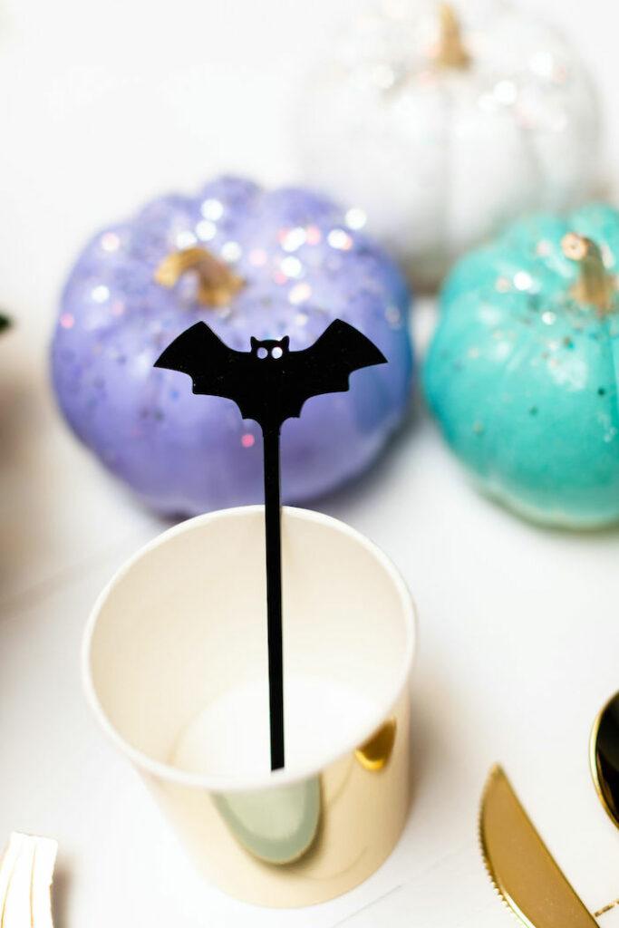 Bat Stir Stick from a Pastel Halloween Party on Kara's Party Ideas   KarasPartyIdeas.com