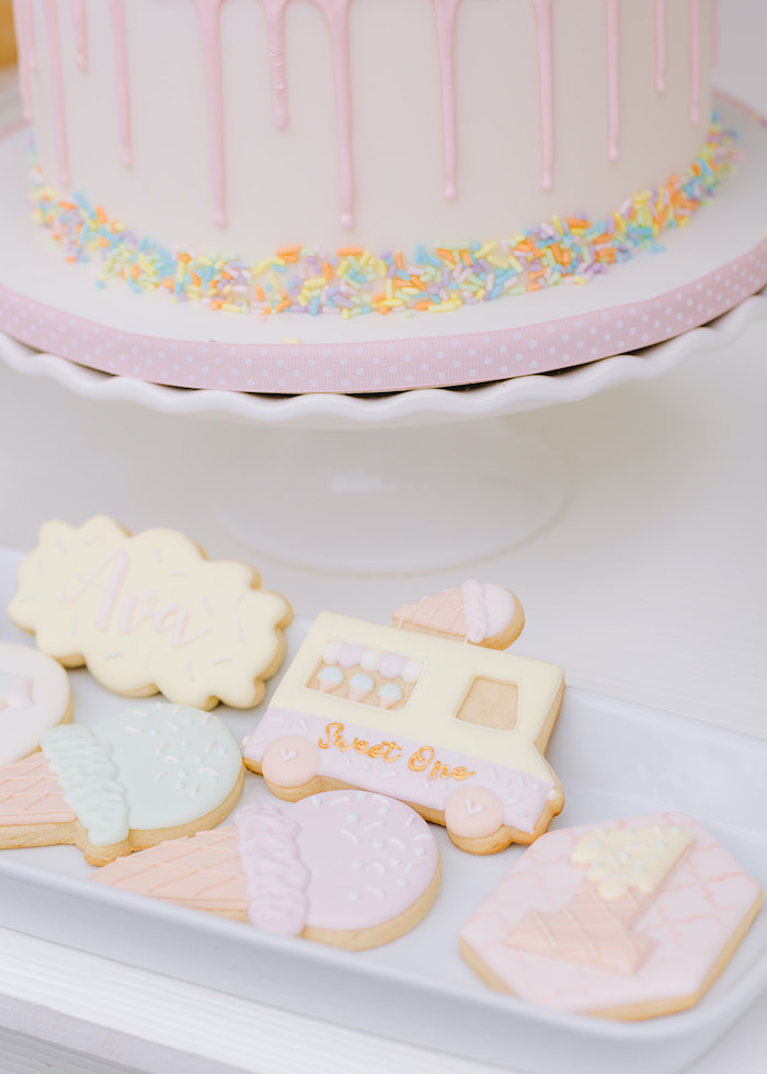 Ice Cream Themed Cookies from a Pastel Ice Cream Party on Kara's Party Ideas | KarasPartyIdeas.com