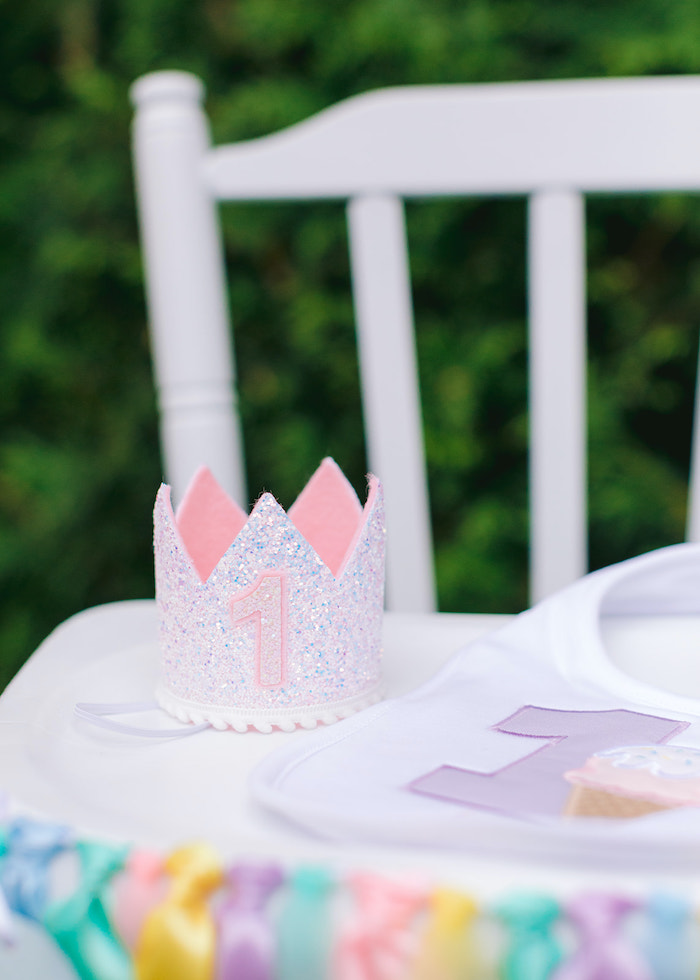 Iridescent 1 Crown from a Pastel Ice Cream Party on Kara's Party Ideas | KarasPartyIdeas.com