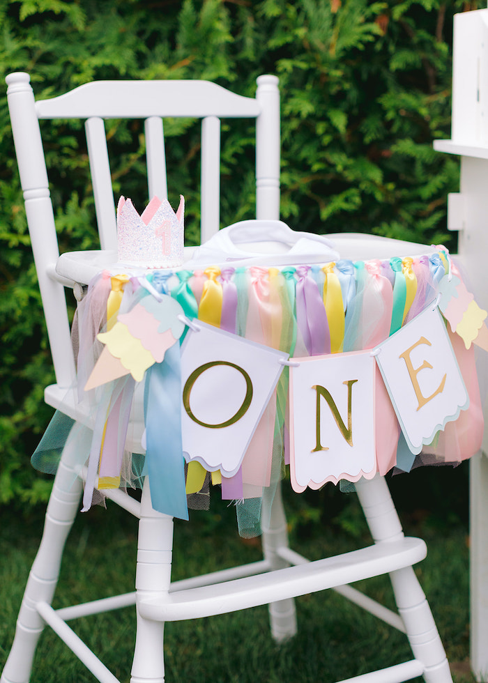Pastel Streamer Highchair Banner from a Pastel Ice Cream Party on Kara's Party Ideas | KarasPartyIdeas.com