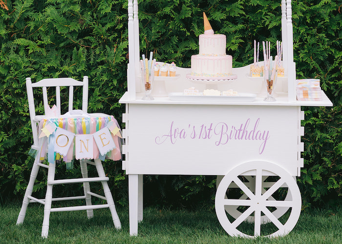 Ice Cream Themed Dessert Stand from a Pastel Ice Cream Party on Kara's Party Ideas | KarasPartyIdeas.com