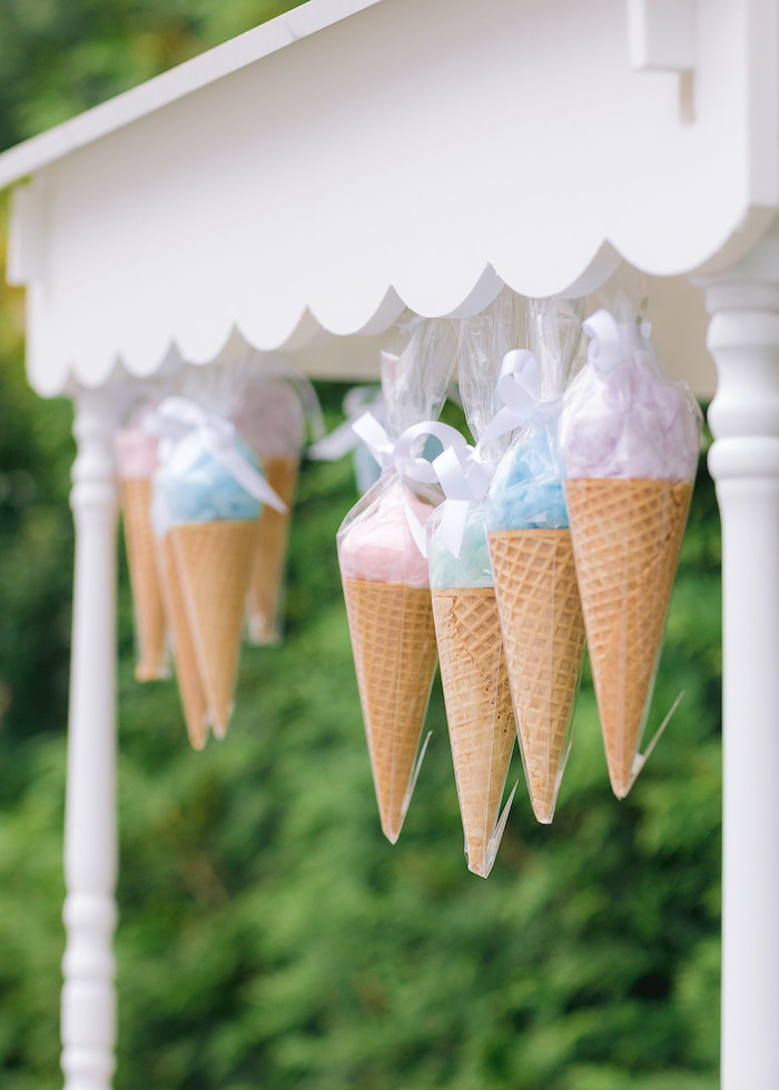 Ice Cream Cone Cotton Candy Banner from a Pastel Ice Cream Party on Kara's Party Ideas | KarasPartyIdeas.com