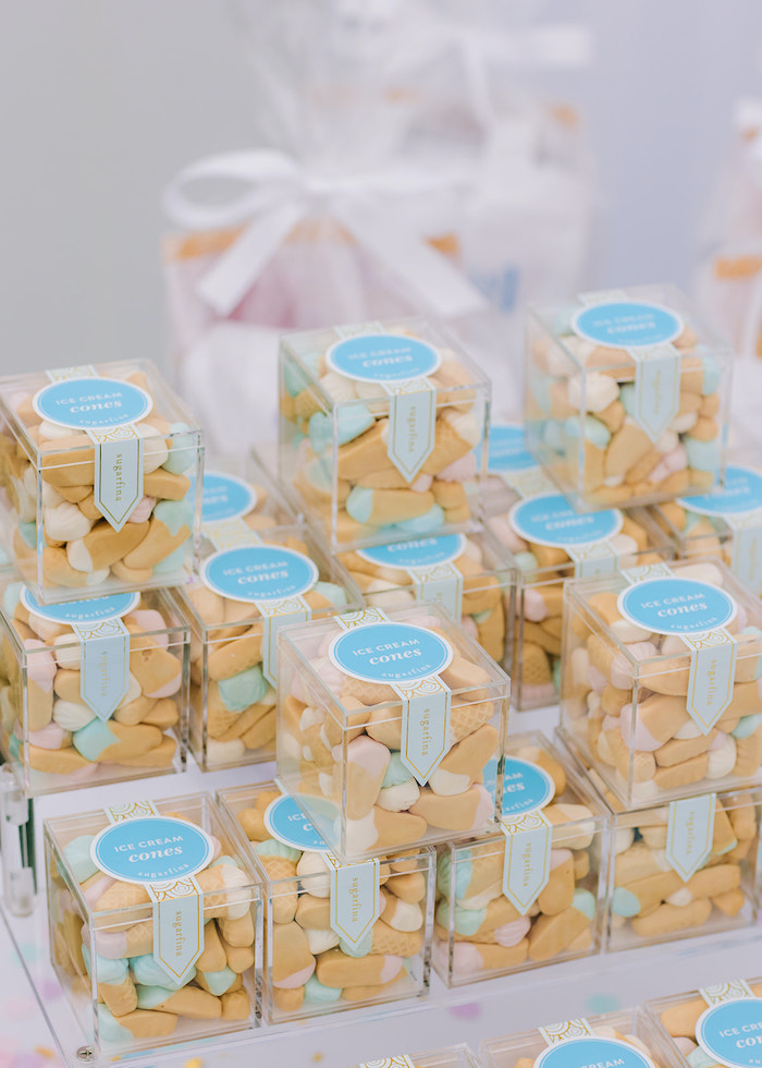 Ice Cram Cone Gummy Favors from a Pastel Ice Cream Party on Kara's Party Ideas | KarasPartyIdeas.com