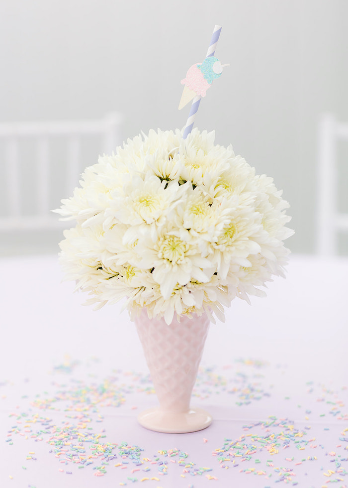 Ice Cream-inspired Floral Centerpiece from a Pastel Ice Cream Party on Kara's Party Ideas | KarasPartyIdeas.com