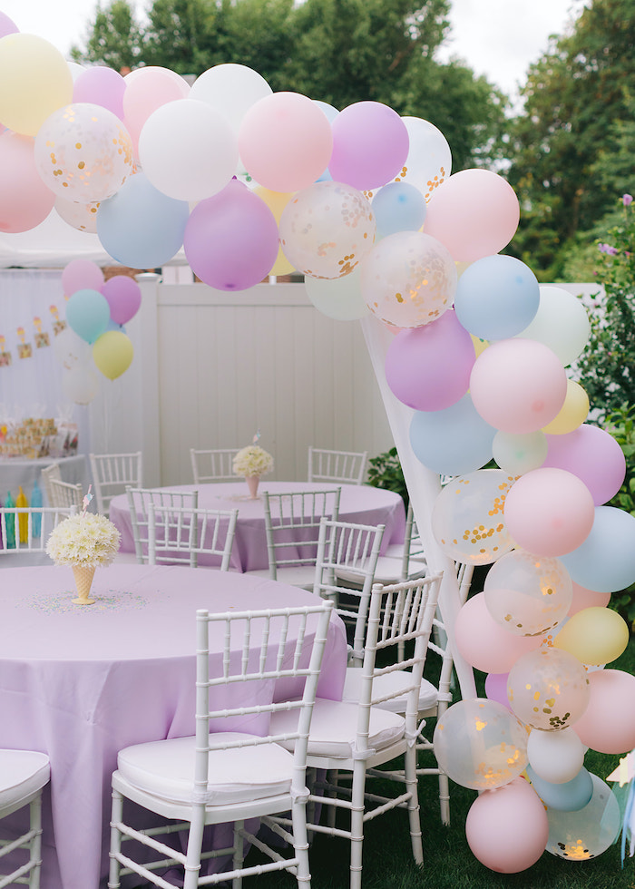 Pastel Balloon Arch Guest Table from a Pastel Ice Cream Party on Kara's Party Ideas | KarasPartyIdeas.com