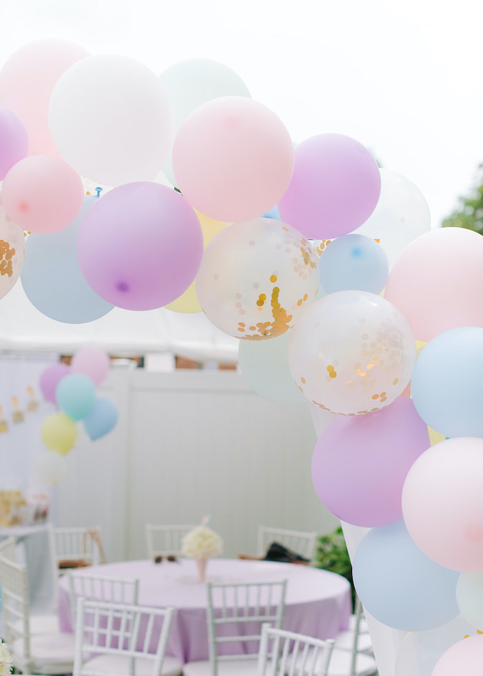 Pastel Balloon Arch from a Pastel Ice Cream Party on Kara's Party Ideas | KarasPartyIdeas.com