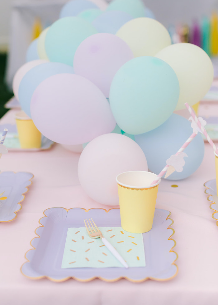 Ice Cream Themed Table Setting from a Pastel Ice Cream Party on Kara's Party Ideas | KarasPartyIdeas.com