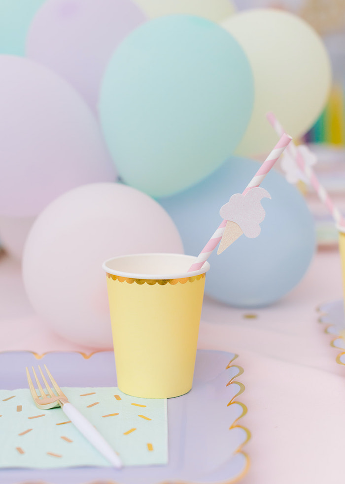 Ice Cream-inspired Cup from a Pastel Ice Cream Party on Kara's Party Ideas | KarasPartyIdeas.com
