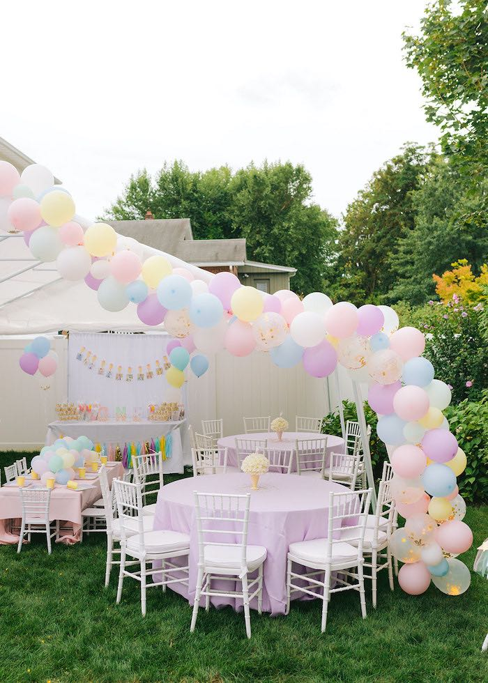 Pastel Guest Tables from a Pastel Ice Cream Party on Kara's Party Ideas | KarasPartyIdeas.com