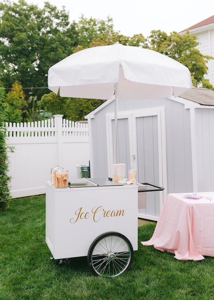 Ice Cream Stand from a Pastel Ice Cream Party on Kara's Party Ideas | KarasPartyIdeas.com