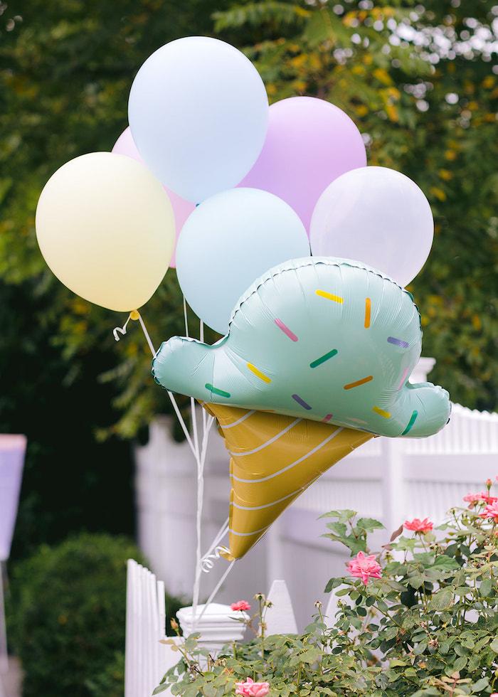 Ice Cream Balloon Bunch from a Pastel Ice Cream Party on Kara's Party Ideas | KarasPartyIdeas.com