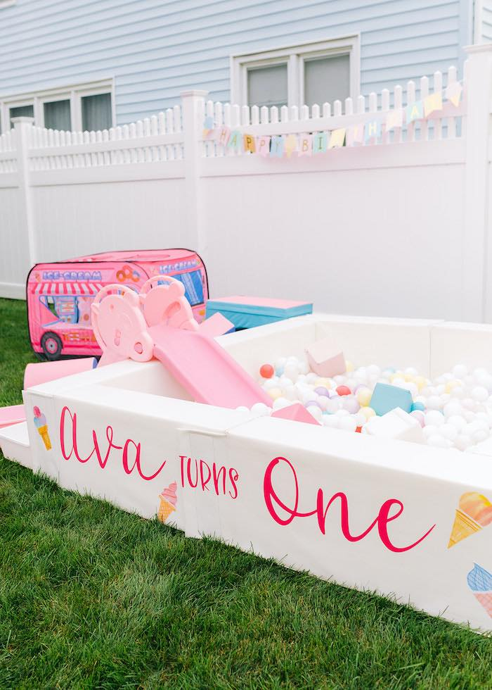 Ball Pit from a Pastel Ice Cream Party on Kara's Party Ideas | KarasPartyIdeas.com
