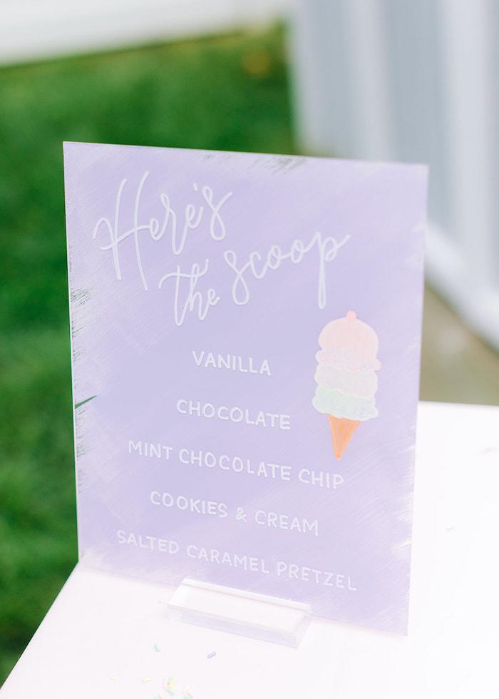 Acrylic Ice Cream Bar Menu from a Pastel Ice Cream Party on Kara's Party Ideas | KarasPartyIdeas.com