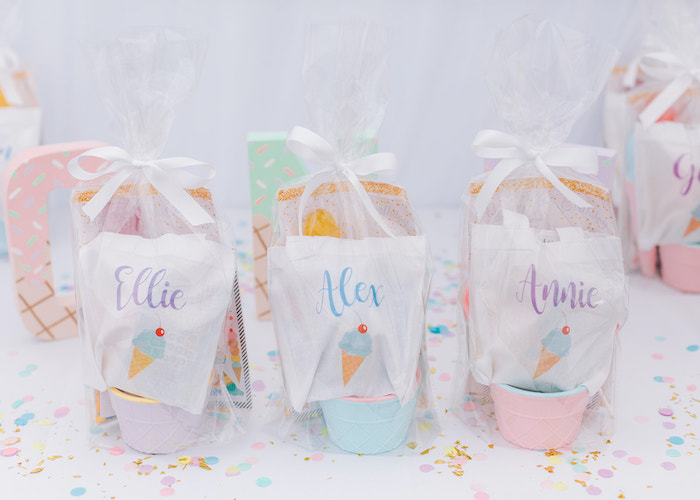 Personalized Favors from a Pastel Ice Cream Party on Kara's Party Ideas | KarasPartyIdeas.com