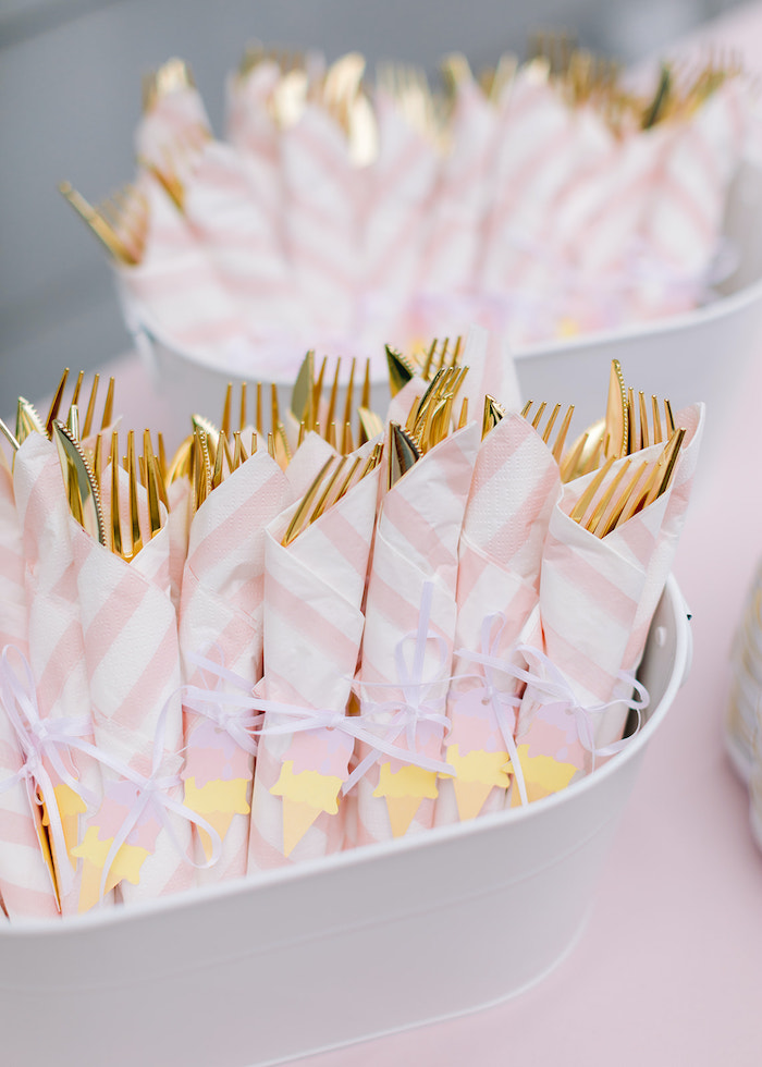 Utensil Pack from a Pastel Ice Cream Party on Kara's Party Ideas | KarasPartyIdeas.com