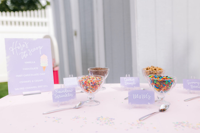 Ice Cream Bar Toppings from a Pastel Ice Cream Party on Kara's Party Ideas | KarasPartyIdeas.com