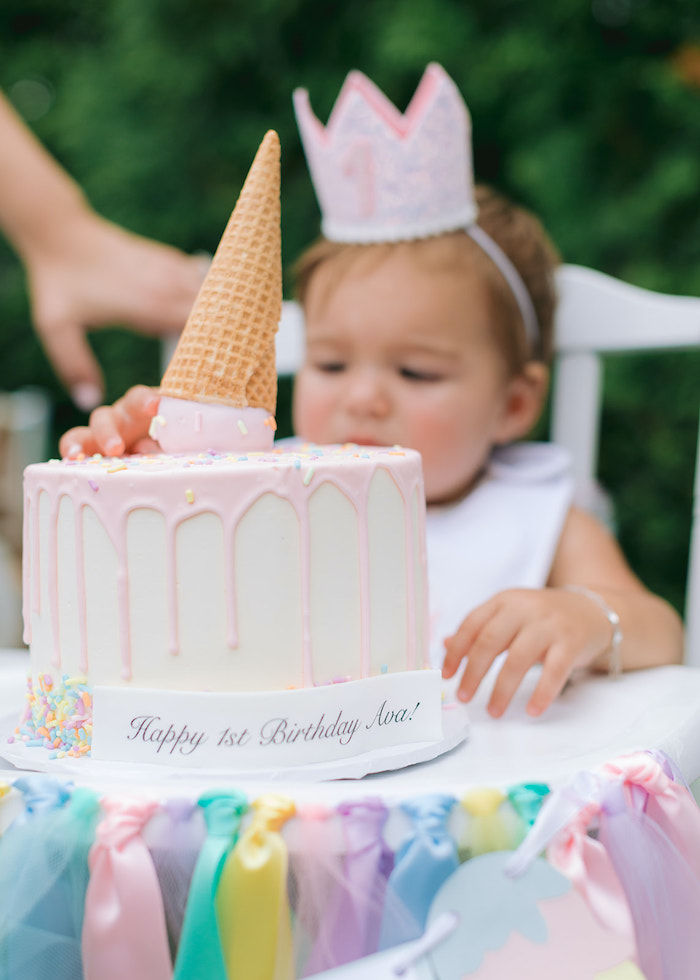 Ice Cream-inspired Drip Smash Cake from a Pastel Ice Cream Party on Kara's Party Ideas | KarasPartyIdeas.com