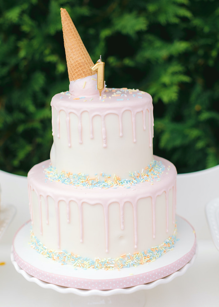 Ice Cream-inspired Drip Cake from a Pastel Ice Cream Party on Kara's Party Ideas | KarasPartyIdeas.com