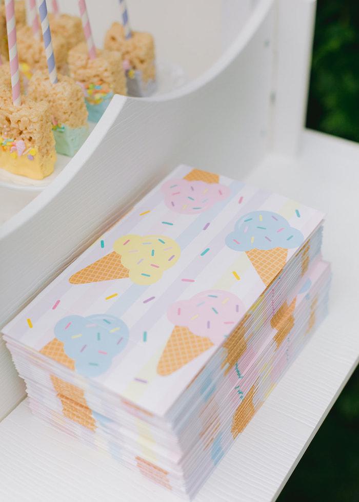 Ice Cream Cone Napkins from a Pastel Ice Cream Party on Kara's Party Ideas | KarasPartyIdeas.com