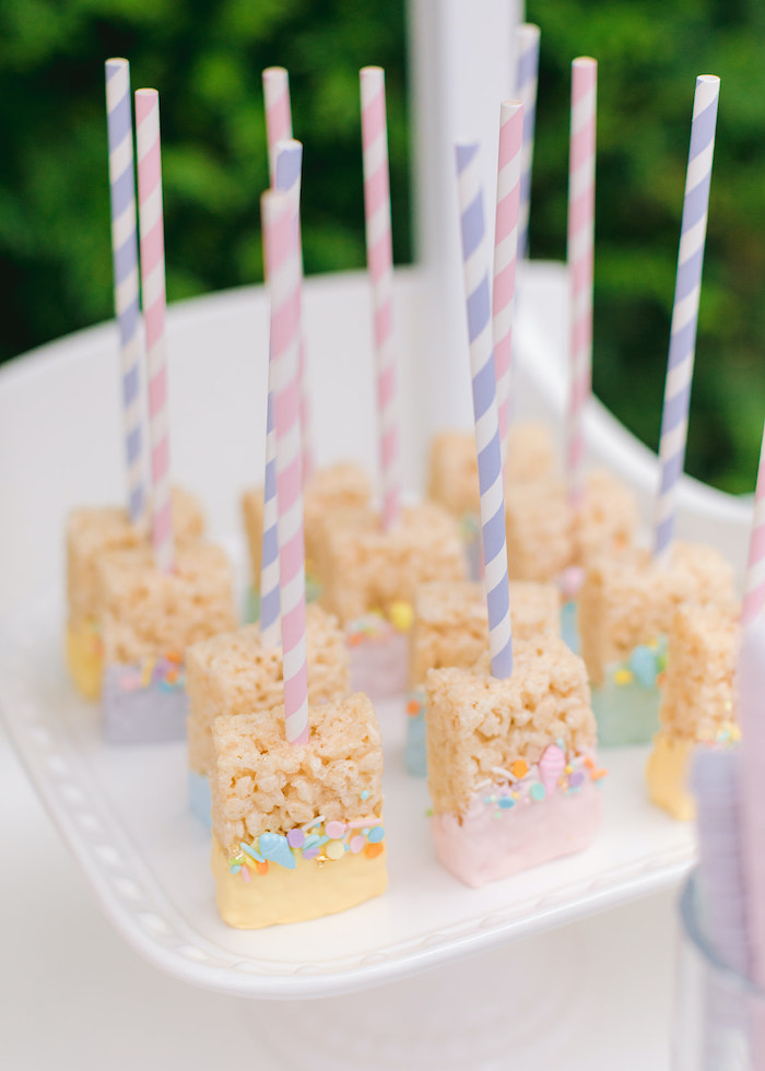 Rice Krispie Treat Pops from a Pastel Ice Cream Party on Kara's Party Ideas | KarasPartyIdeas.com