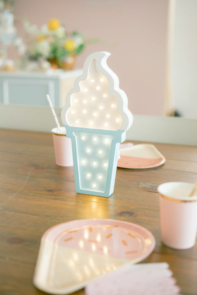 Ice Cream Themed Kid Table from a TWO Sweet 2nd Birthday Party on Kara's Party Ideas | KarasPartyIdeas.com