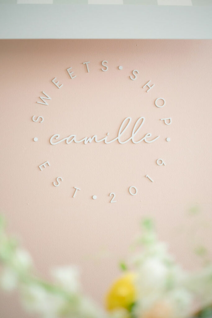 Custom Sweet Shop Backdrop Sign from a TWO Sweet 2nd Birthday Party on Kara's Party Ideas | KarasPartyIdeas.com