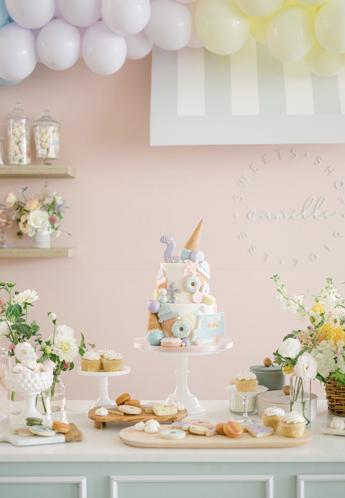 Two Sweet Themed Dessert Table from a TWO Sweet 2nd Birthday Party on Kara's Party Ideas | KarasPartyIdeas.com
