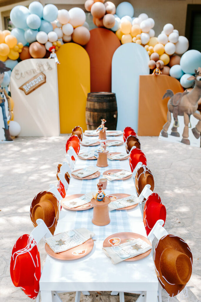 Toy Story Kid Table from a Toy Story Inspired Cowboy Roundup Party on Kara's Party Ideas | KarasPartyIdeas.com
