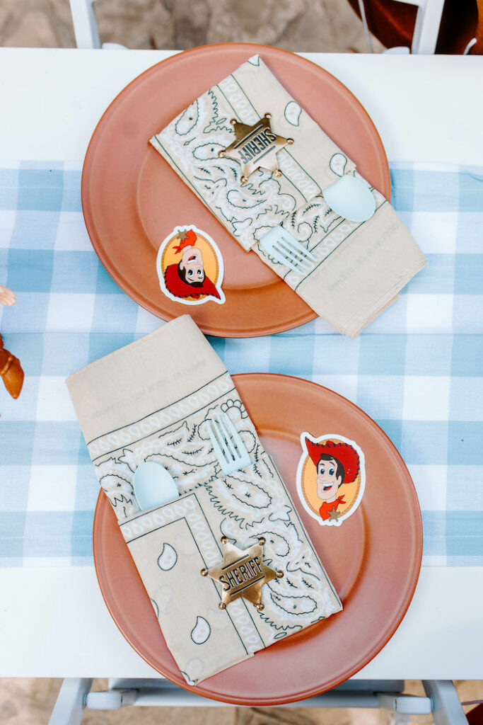 Toy Story Table Setting from a Toy Story Inspired Cowboy Roundup Party on Kara's Party Ideas | KarasPartyIdeas.com