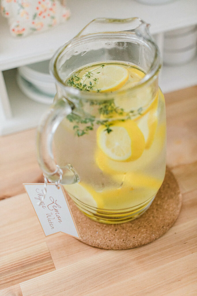 """Lemon Thyme Water from a """"Sweet as Pie"""" Country Kitchen Birthday Party on Kara's Party Ideas   KarasPartyIdeas.com"""