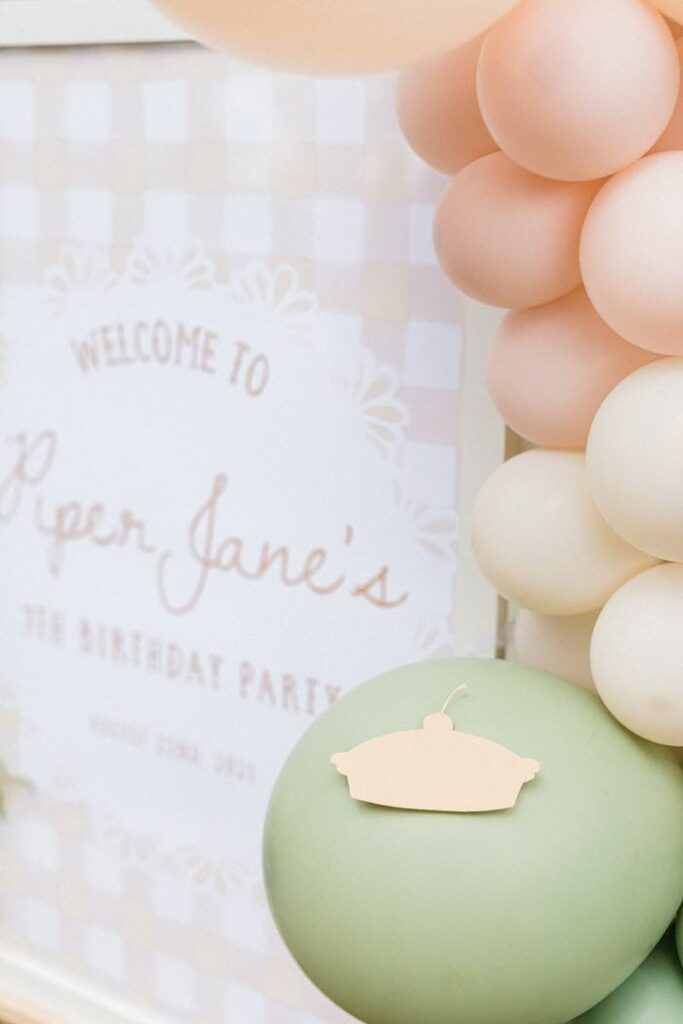 """Balloon Garland from a """"Sweet as Pie"""" Country Kitchen Birthday Party on Kara's Party Ideas   KarasPartyIdeas.com"""