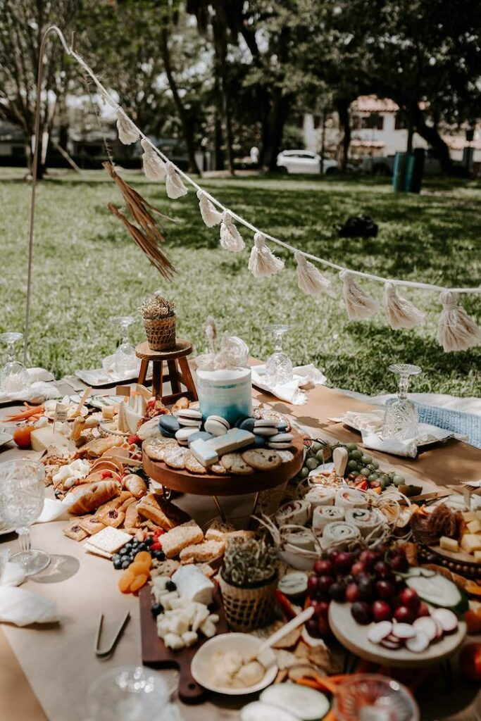 """Grazing Picnic Table from a """"The Big ONE"""" Boho Surf Birthday Party on Kara's Party Ideas 