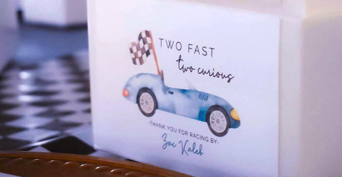 """""""Two Fast, Two Curious"""" Race Car 2nd Birthday Party on Kara's Party Ideas   KarasPartyIdeas.com"""