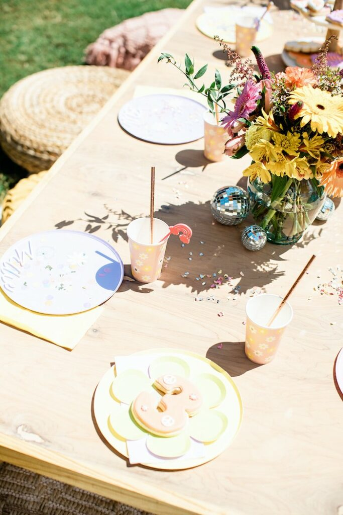 """Groovy Guest Table Settings from a Groovy """"Young, Wild and THREE"""" Party on Kara's Party Ideas 
