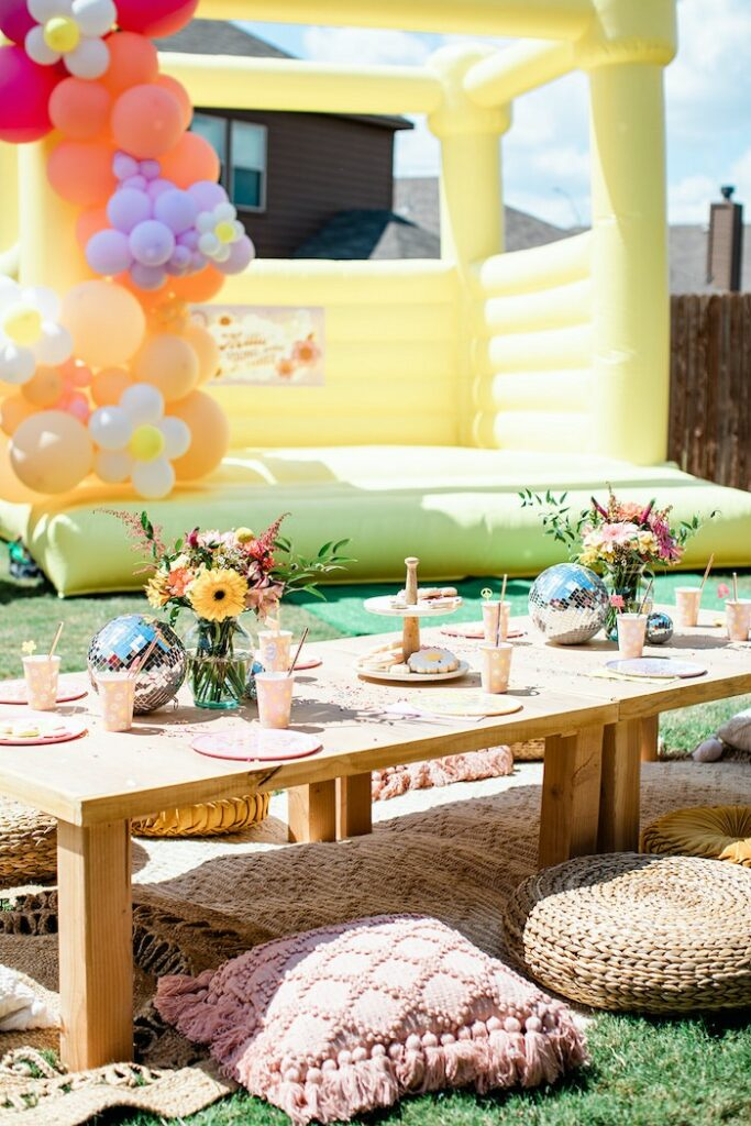 """Groovy Guest table from a Groovy """"Young, Wild and THREE"""" Party on Kara's Party Ideas 