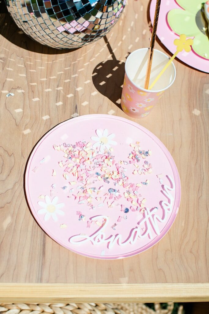 """Groovy Guest Table Setting from a Groovy """"Young, Wild and THREE"""" Party on Kara's Party Ideas 