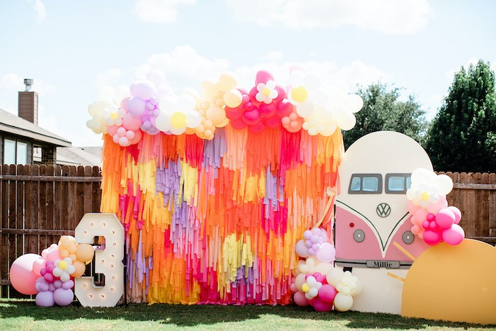 """Groovy Tassel Streamer VW Backdrop from a Groovy """"Young, Wild and THREE"""" Party on Kara's Party Ideas 