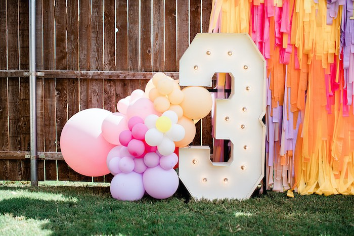 """Balloon Marquee from a Groovy """"Young, Wild and THREE"""" Party on Kara's Party Ideas 