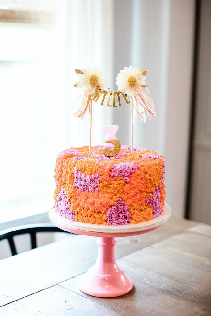 """Shag Cake from a Groovy """"Young, Wild and THREE"""" Party on Kara's Party Ideas 
