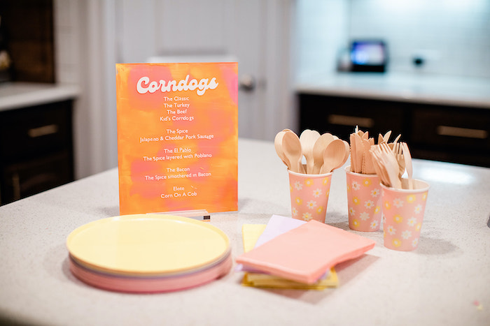 """Acrylic Food Menu + Partyware from a Groovy """"Young, Wild and THREE"""" Party on Kara's Party Ideas 