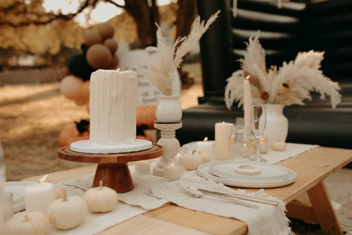 Neutral-colored Fall Guest Table from a Harry Potter Halloween Party on Kara's Party Ideas | KarasPartyIdeas.com
