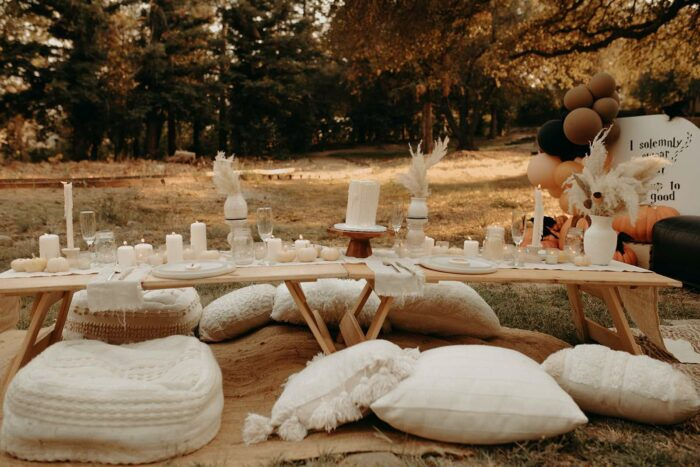 Neutral-colored Guest Table from a Harry Potter Halloween Party on Kara's Party Ideas | KarasPartyIdeas.com