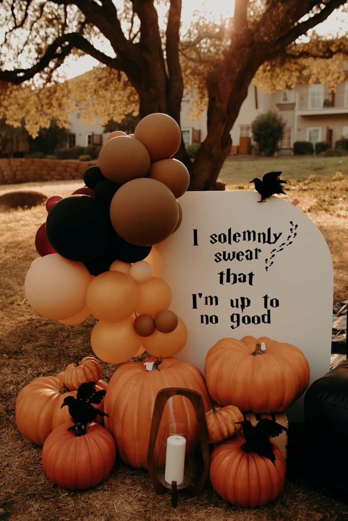 Halloween Balloon + Pumpkin Backdrop from a Harry Potter Halloween Party on Kara's Party Ideas | KarasPartyIdeas.com