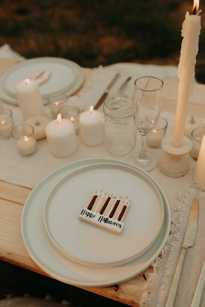 Table Setting from a Harry Potter Halloween Party on Kara's Party Ideas | KarasPartyIdeas.com